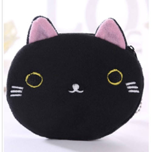 3 PCS Cute Cat Coin Purse Children Plush Coin Purse (Black+White)