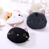 3 PCS Cute Cat Coin Purse Children Plush Coin Purse (Black)
