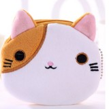 3 PCS Cute Cat Coin Purse Children Plush Coin Purse (Brown+White)