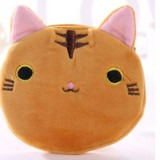 3 PCS Cute Cat Coin Purse Children Plush Coin Purse (Brown)