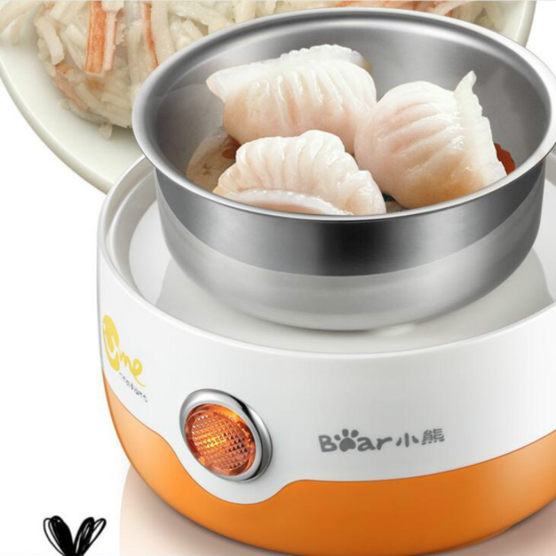 Automatic Power off Cooking Egg Mini Dingle-layer Multi-function Stainless Steel Breakfast Machine, US Plug, 220V (Orange)