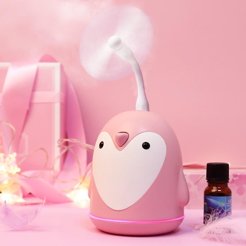 220ml Aroma Humidifier Cute Penguin USB Air Diffuser Home Office Car Mist Maker Air Purifier (Pink)
