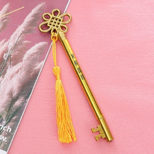 3 PCS Creative Personality Key Pen Fashion Palace Style Tassel Pendant Gel Pen (Gold G2-17)