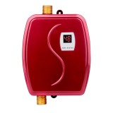 3800W Mini Electric Tankless Instant Hot Water Heater Bathroom Kitchen Washing Water Boiler Household Kitchen Appliance, Plug: 110V US Plug (Red)
