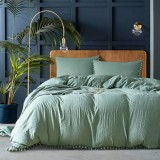 Princess Bedding Sets With Washed Ball Decorative Microfiber Fabric Cover Pillowcase, Size: King (Two Pillowcase and One Quilt) (Pea Green)