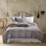 Princess Bedding Sets With Washed Ball Decorative Microfiber Fabric Cover Pillowcase, Size: King (Two Pillowcase and One Quilt) (Light Grey)