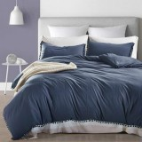 Princess Bedding Sets With Washed Ball Decorative Microfiber Fabric Cover Pillowcase, Size: King (Two Pillowcase and One Quilt) (Navy Blue)