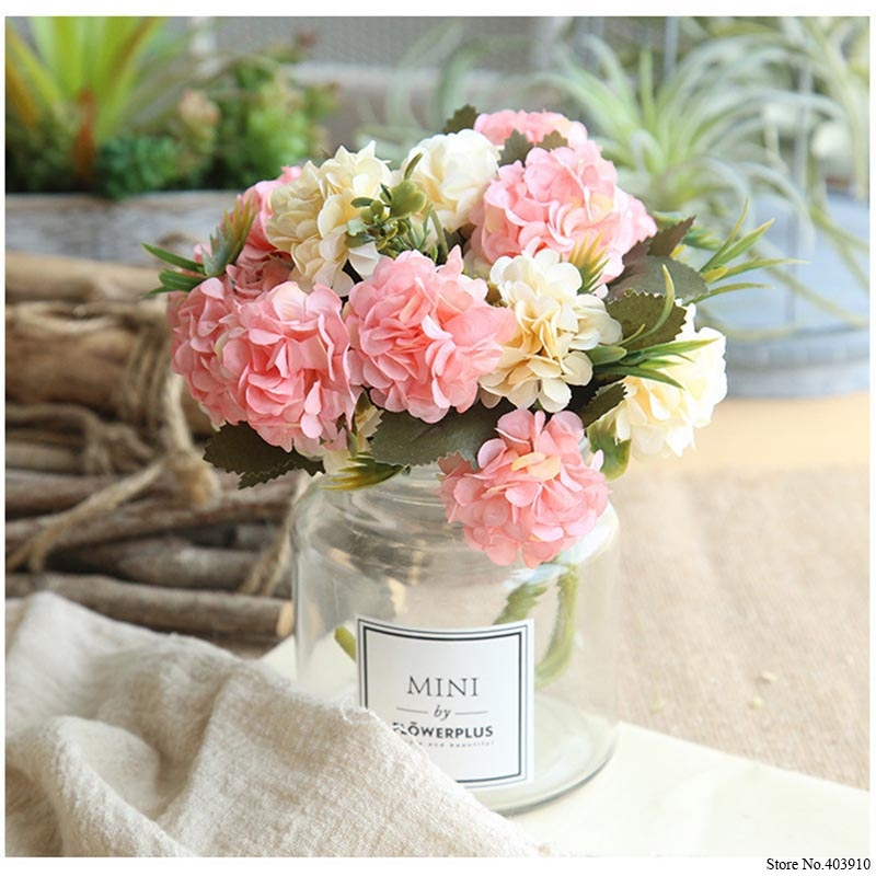 Artificial Flower Ball Chrysanthemum Home Decoration Wedding Bouquet Flower Plant Fake Flower (Milky White)