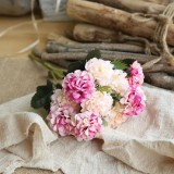 Artificial Flower Ball Chrysanthemum Home Decoration Wedding Bouquet Flower Plant Fake Flower (White Purple Pink)