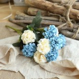 Artificial Flower Ball Chrysanthemum Home Decoration Wedding Bouquet Flower Plant Fake Flower (Blue)