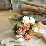 Artificial Flower Ball Chrysanthemum Home Decoration Wedding Bouquet Flower Plant Fake Flower (Coral)