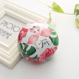 Romantic Valentine Day Candy Box Flat Round Candy Box Jewelry Gift Bird Box Tote Home Garden Festive Party Supplies, Color: Flamingo