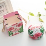 Romantic Valentine Day Candy Box Flat Round Candy Box Jewelry Gift Bird Box Tote Home Garden Festive Party Supplies, Color: Flamingo+tote bag