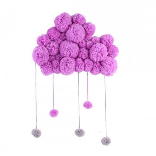 DIY Children Room Girl Room Decoration Hair Ball String Ornaments (Purple)