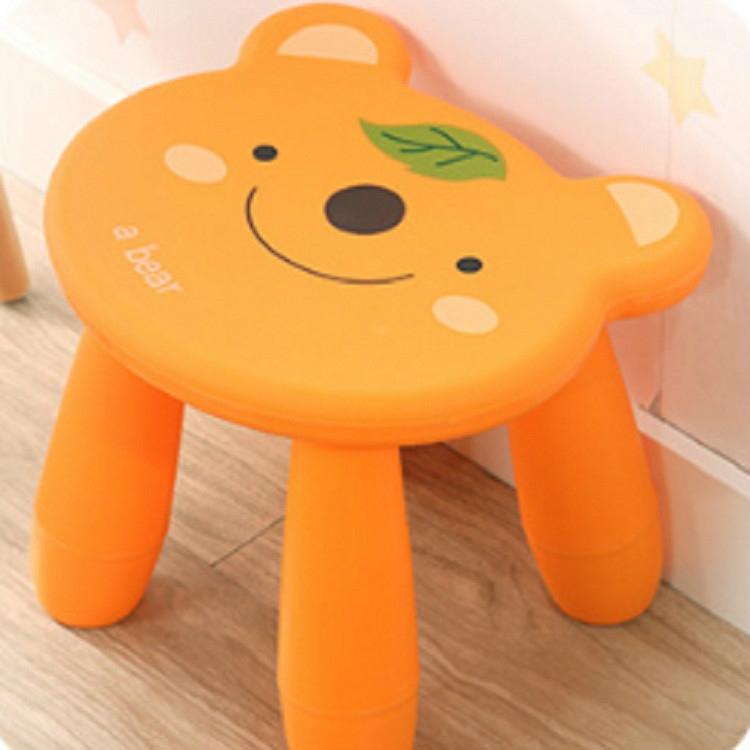 Thickened Children Chair Baby Plastic Stool Cute Cartoon Kindergarten Orange Bear Alexnld Com