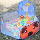 Kids Indoor Outdoor Safe Tent Children Foldable Playpens Game Cartoon Throwing Basketball Pool For Kids (Blue)