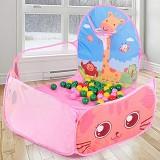 Kids Indoor Outdoor Safe Tent Children Foldable Playpens Game Cartoon Throwing Basketball Pool For Kids (Pink)