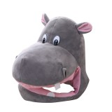 Cute Hippo Hat Cosplay Props Accessories Plush Head Photo props One size, Color: As Show