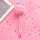 Creative Fur Ball Pendant Stationery Cute Plush Colored Pen Student Gel Pen (Love Pink Fur Ball)