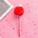 Creative Fur Ball Pendant Stationery Cute Plush Colored Pen Student Gel Pen (Love Red Fur Ball)