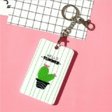 2 PCS Cute Cartoon Document Set Key Chain Bus Meal Card Protective Cover ID Card Set (Cactus B)