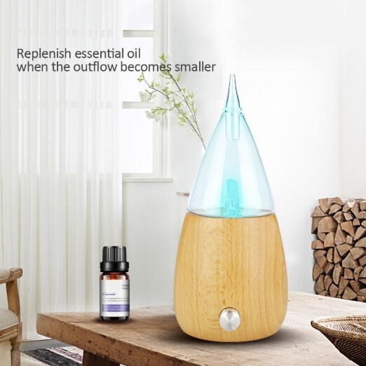 Waterless Diffuser Essential Oil Spray Wood Glass Aromatherapy Air Humidifier, Plug Type: US Plug (Light Wood Grain)