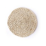 2 PCS Non-slip Natural Corn Woven Thickening Insulated Tea Mat Table Heat-resistant Casserole Mat Round Placemat 22cm