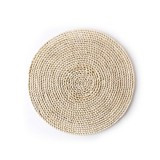 2 PCS Non-slip Natural Corn Woven Thickening Insulated Tea Mat Table Heat-resistant Casserole Mat Round Placemat 35cm