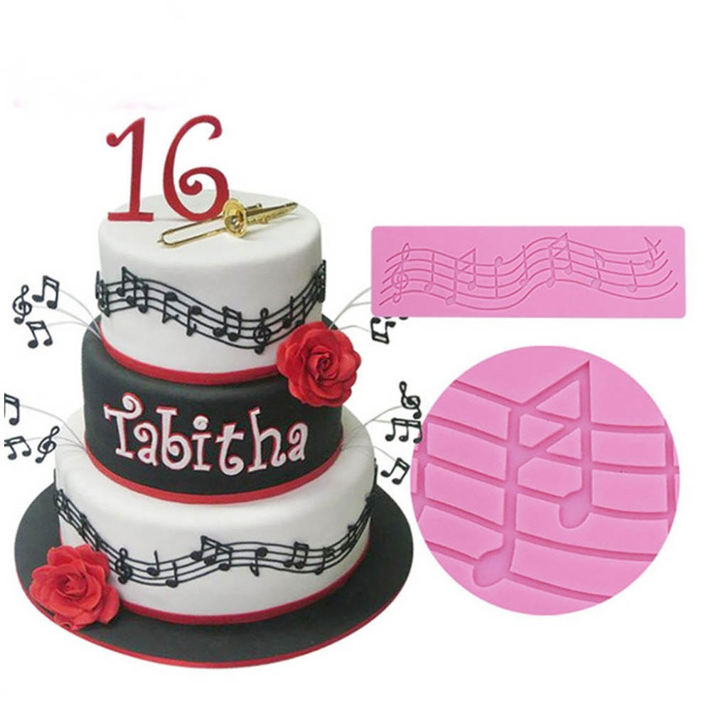 2 PCS Note Cake Decoration Silicone Mould Fondant Cake Tool Baking DIY Mould
