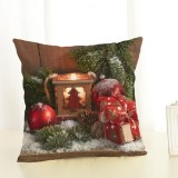 Christmas Decoration Cotton and Linen Pillow Office Home Cushion Without Pillow, Size: 45x45cm (Red Gift)