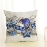 Christmas Decoration Cotton and Linen Pillow Office Home Cushion Without Pillow, Size: 45x45cm (Blue Star)