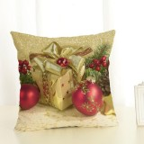 Christmas Decoration Cotton and Linen Pillow Office Home Cushion Without Pillow, Size: 45x45cm (Golden Red Gift)