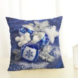 Christmas Decoration Cotton and Linen Pillow Office Home Cushion Without Pillow, Size: 45x45cm (Blue Christmas)