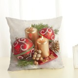 Christmas Decoration Cotton and Linen Pillow Office Home Cushion Without Pillow, Size: 45x45cm (Golden Candle)
