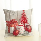 Christmas Decoration Cotton and Linen Pillow Office Home Cushion Without Pillow, Size: 45x45cm (White Red Gift)