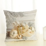Christmas Decoration Cotton and Linen Pillow Office Home Cushion Without Pillow, Size: 45x45cm (Golden Gift)