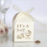 100 PCS Baby Shower Party Candy Box Wedding Gift Box, Size: 5 x 5 x 8cm (Ivory)