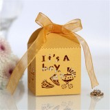 100 PCS Baby Shower Party Candy Box Wedding Gift Box, Size: 5 x 5 x 8cm (Golden)