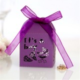 100 PCS Baby Shower Party Candy Box Wedding Gift Box, Size: 5 x 5 x 8cm (Dark Purple)