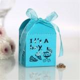 100 PCS Baby Shower Party Candy Box Wedding Gift Box, Size: 5 x 5 x 8cm (Light Blue)