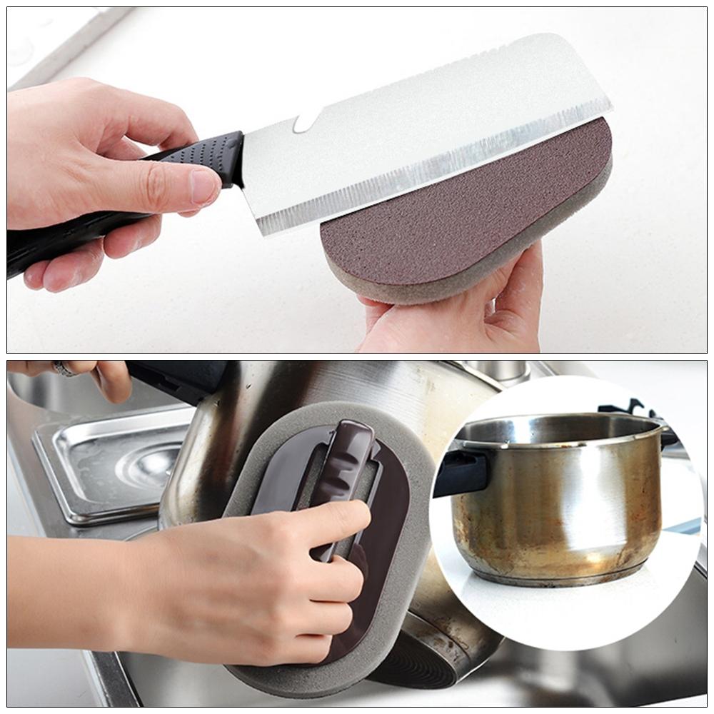 2 PCS Nano-ceramic Sponge with Handle Kitchen Decontamination Cleaning Brush Pot Brush (Brown)