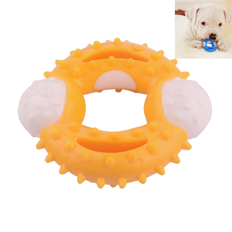 Pet Dog Ball Chew Pet Puppy Teething Clean Bite Toy Funny Interactive Durable Training Ball (Yellow)