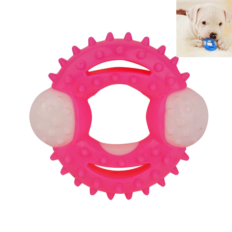 Pet Dog Ball Chew Pet Puppy Teething Clean Bite Toy Funny Interactive Durable Training Ball (Pink)