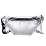 Summer Transparent Fanny Packs Chain Waist Packs Small Belt Bags Female Chest Bag Travel Waist Pack (Clear)