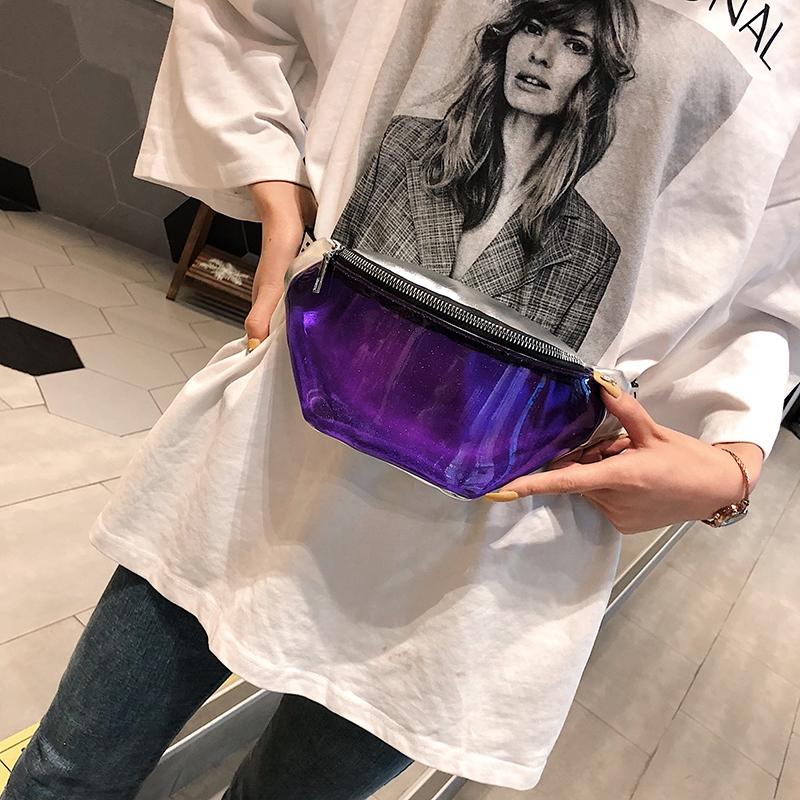 Summer Transparent Fanny Packs Chain Waist Packs Small Belt Bags Female Chest Bag Travel Waist Pack (Clear)