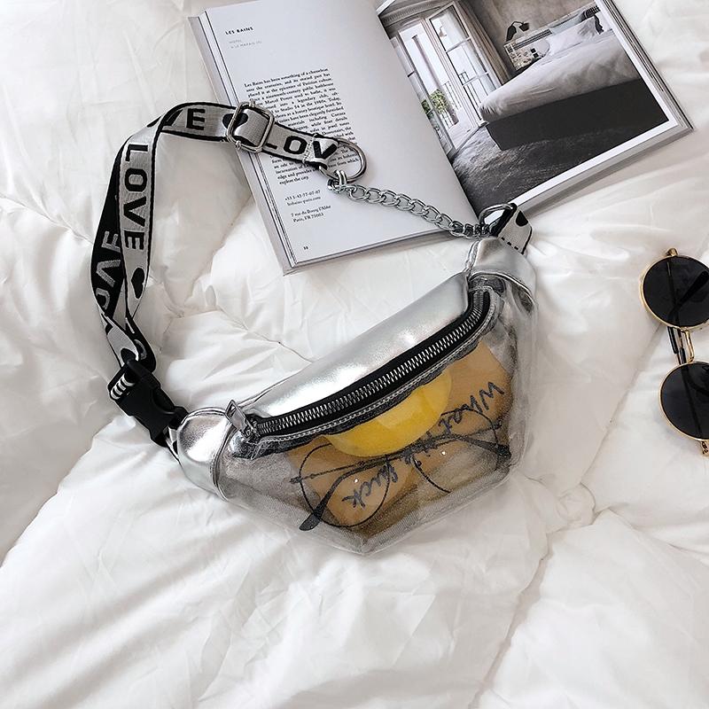 Summer Transparent Fanny Packs Chain Waist Packs Small Belt Bags Female Chest Bag Travel Waist Pack (White)