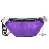 Summer Transparent Fanny Packs Chain Waist Packs Small Belt Bags Female Chest Bag Travel Waist Pack (Lavender)