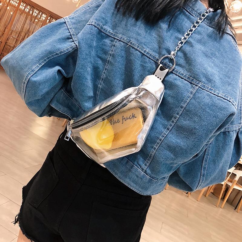 Summer Transparent Fanny Packs Chain Waist Packs Small Belt Bags Female Chest Bag Travel Waist Pack (Lavender)