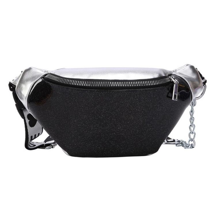 Summer Transparent Fanny Packs Chain Waist Packs Small Belt Bags Female Chest Bag Travel Waist Pack (Black)