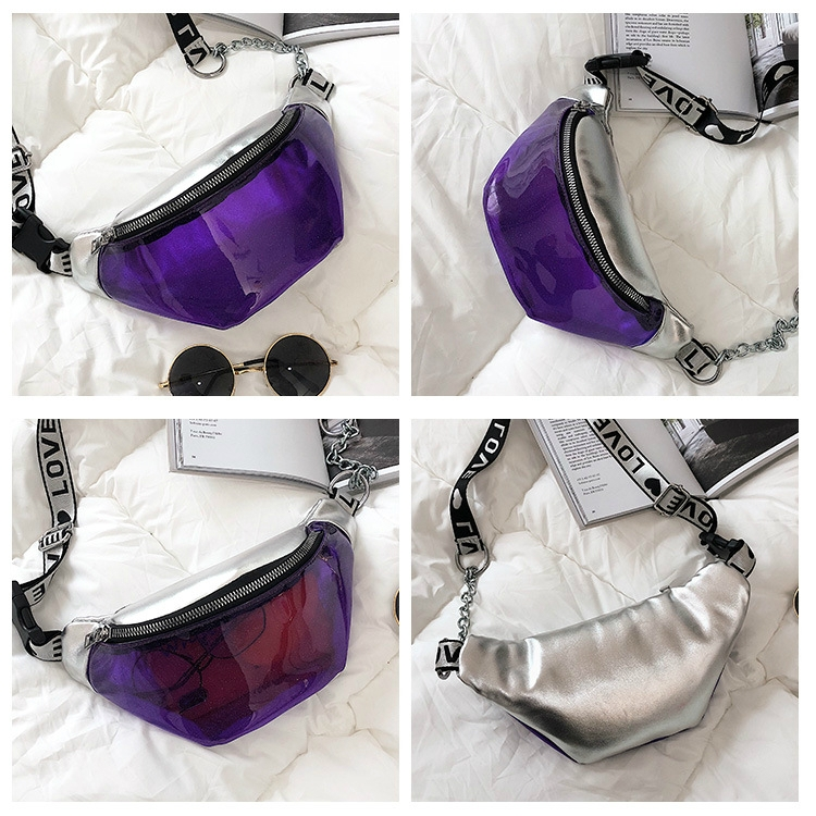 Summer Transparent Fanny Packs Chain Waist Packs Small Belt Bags Female Chest Bag Travel Waist Pack (Black)
